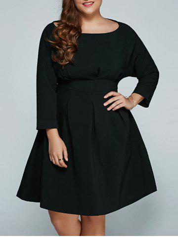Online Plus Size Empire Waisted Flare Dress BLACK 4XL
