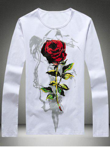 Affordable Plus Size 3D Rose Print Round Neck Long Sleeve T-Shirt