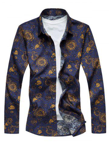 Outfit Plus Size Pocket Watch Print Long Sleeve Shirt