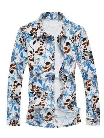 Best Plus Size 3D Leaves Print Long Sleeve Shirt