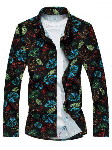 Sale Plus Size 3D Colorful Leaves Print Long Sleeve Shirt COLORMIX M