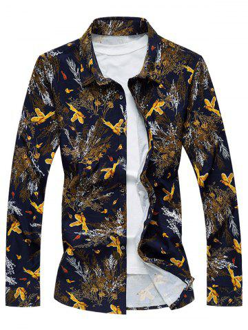 Fancy Plus Size 3D Birds and Leaves Print Long Sleeve Shirt