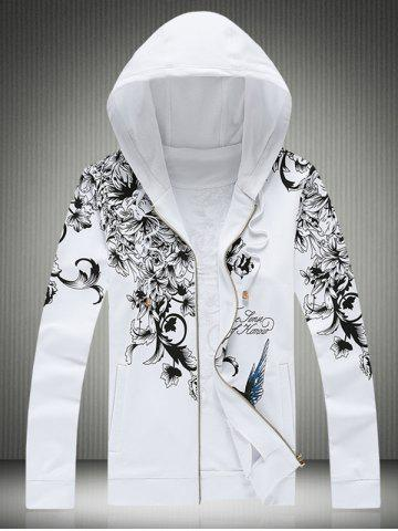 Hot Plus Size Hooded Bird and Floral Print Zip-Up Hoodie