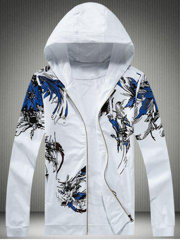 Fashion Plus Size Hooded Bird and Florals Print Zip-Up Hoodie WHITE M