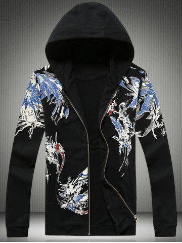 Plus Size Hooded Bird and Florals Print Zip-Up Hoodie - Black - 5xl