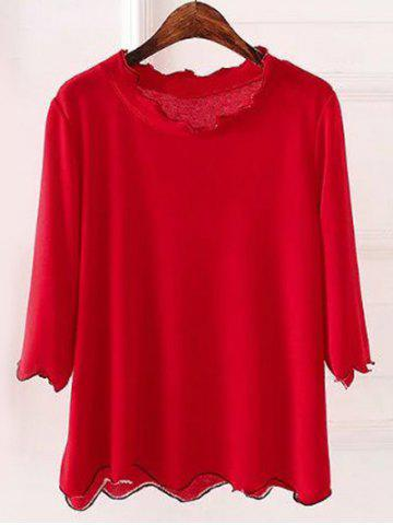 Shops Plus Size 3/4 Sleeves Wave Cut Knitwear RED 5XL