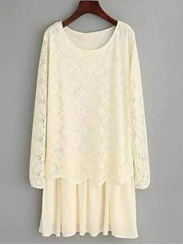 Bowknot Design Lace Spliced Dress - OFF WHITE 2XL