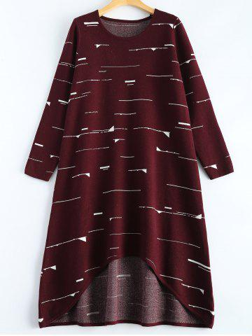 Discount Small Flag Pattern Knit High Low Dress