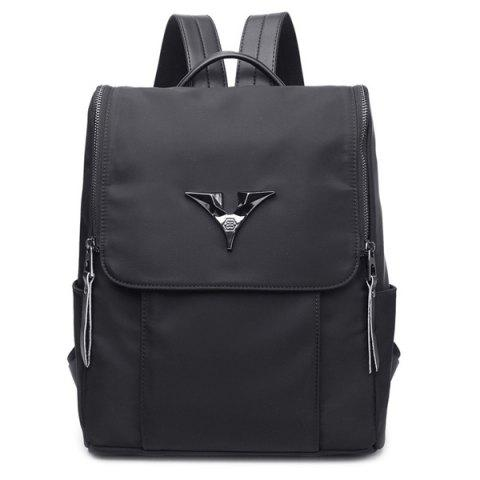 Online Metal Zip Nylon Backpack BLACK