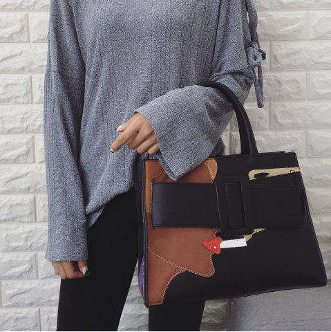 Fashion PU Leather Color Spliced Stitching Tote Bag
