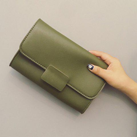 Online PU Leather Magnetic Closure Stitching Clutch Bag