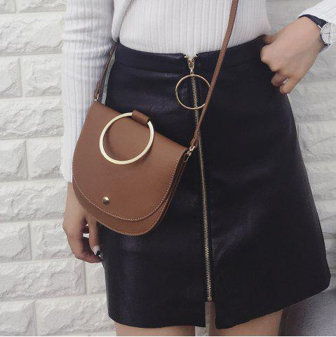 Hot Faux Leather Metal Ring Crossbody Bag
