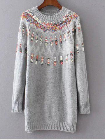 Buy Long Floral Pullover Knit Sweater GRAY ONE SIZE