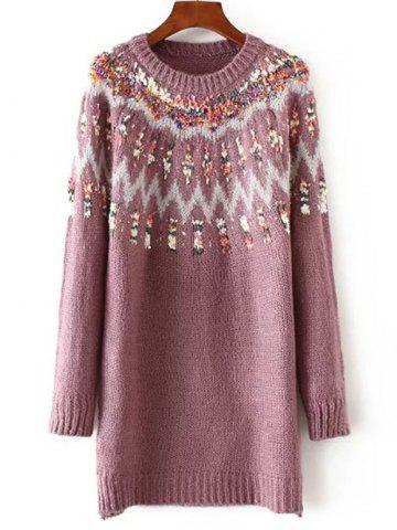 Long Floral Pullover Knit Sweater - Pink - One Size