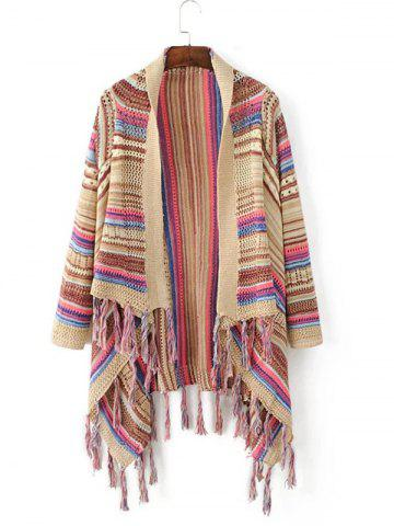 Store Striped Color Block Fringed Cardigan