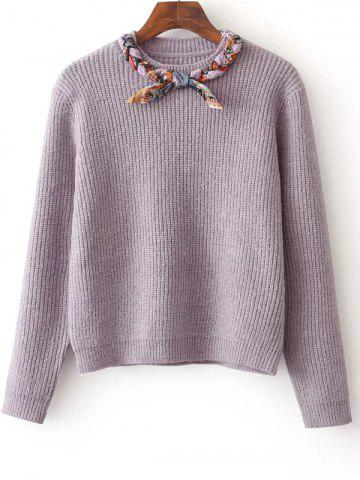 Shops Bowknot Design Pullover Knit Sweater