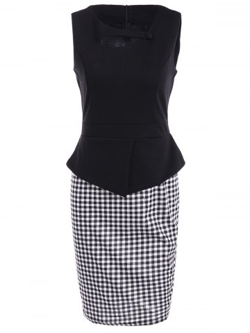 Latest Sleeveless Cut Out Bodycon Dress CHECKED 3XL