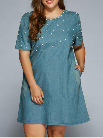 Best A Line Beading Denim Dress