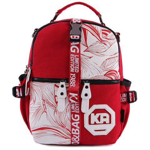 New Buckle Strap Printed Canvas Backpack