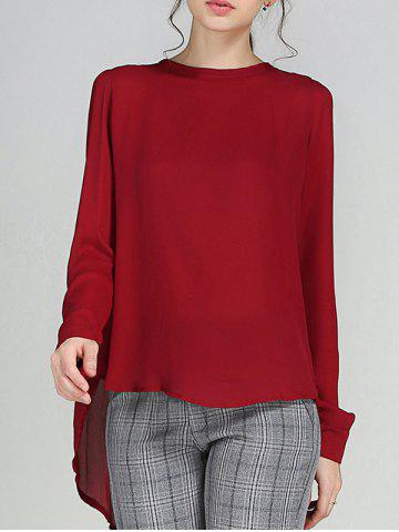 Sale High Low Pleated Blouse WINE RED 5XL