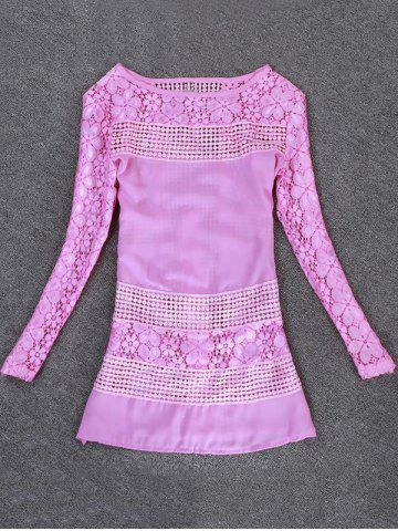 Best Lace Crochet Blouse PINK M