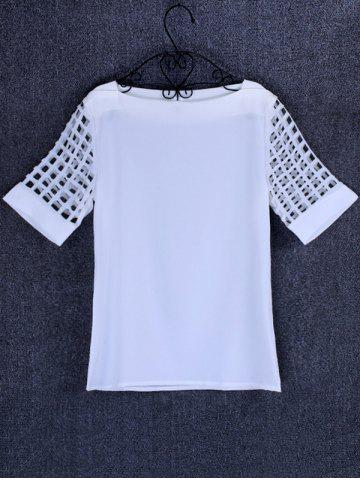 Trendy Openwork Candy Color T Shirt WHITE 5XL