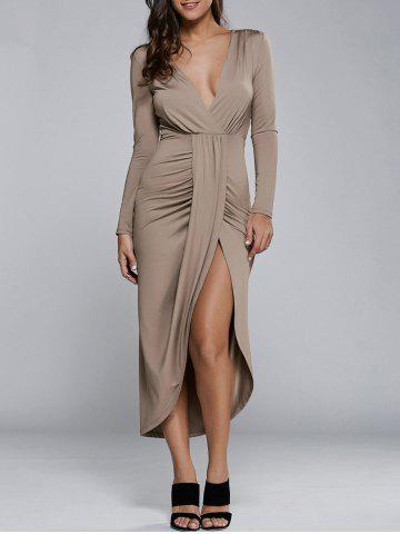 Chic Long Sleeve High Slit Dress
