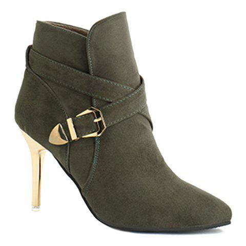 Affordable Stiletto Heel Point Toe Buckle Cross Strap Suede Ankle Boots BLACKISH GREEN 39