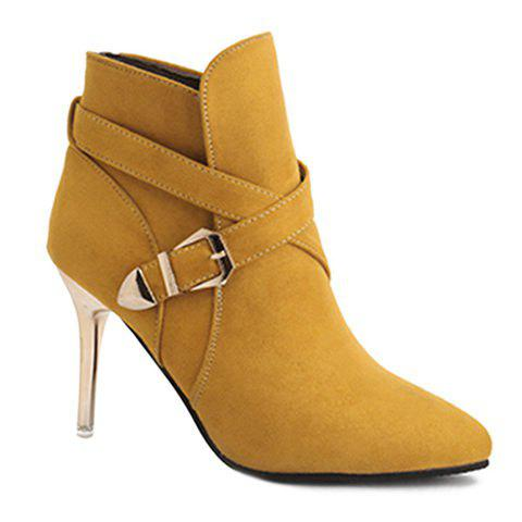 Stiletto Heel Point Toe Buckle Cross Strap Suede Ankle Boots - Yellow - 37