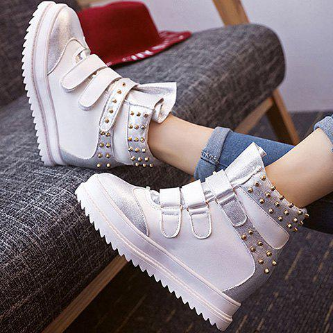 Fashion Hook and Loop Rivet Ankle Boots