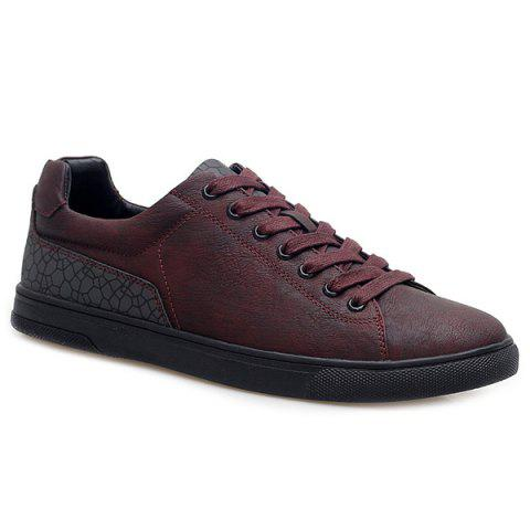 Lace-Up Color Block Casual Shoes - Wine Red - 40