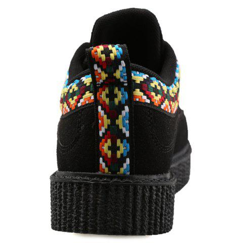 Outfit Lace Up Geometric Pattern Suede Casual Shoes - 43 BLACK Mobile
