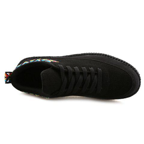 Fancy Lace Up Geometric Pattern Suede Casual Shoes - 43 BLACK Mobile