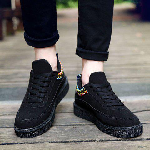 Fashion Lace Up Geometric Pattern Suede Casual Shoes - 43 BLACK Mobile
