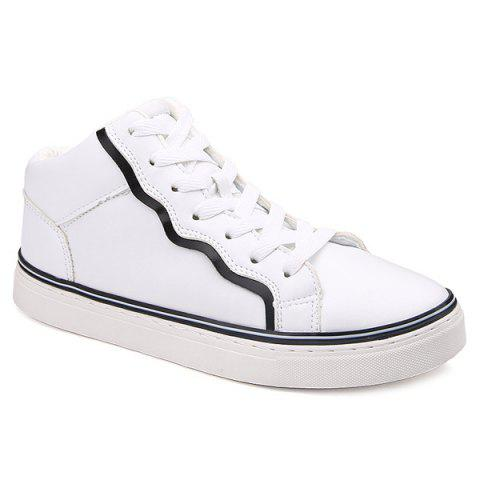 Trendy Colour Spliced Faux Leather Casual Shoes