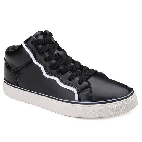 Discount Colour Spliced Faux Leather Casual Shoes BLACK 44