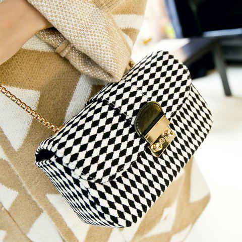 Shops Color Spliced Argyle Pattern Chain Crossbody Bag