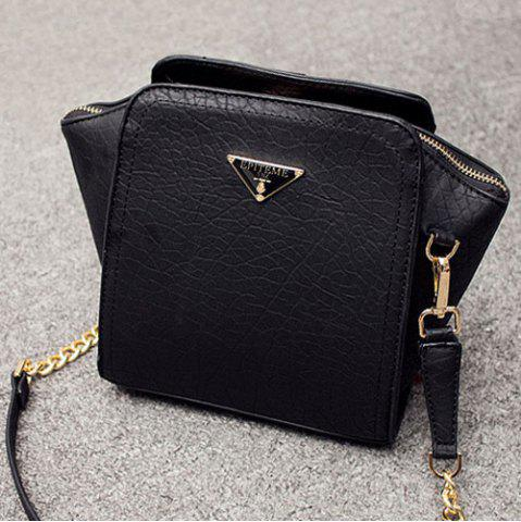 Metal Embossing Chain Crossbody Bag - Black - Horizontal