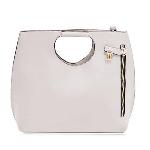 Fashion Lock Zipper Embellished Tote Bag - GRAY  Mobile