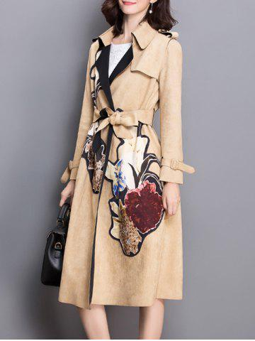 Floral Applique Suede Trench Coat - Camel - M