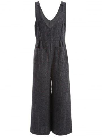 Chic Striped Pockets Suspenders Jumpsuit BLACK 3XL