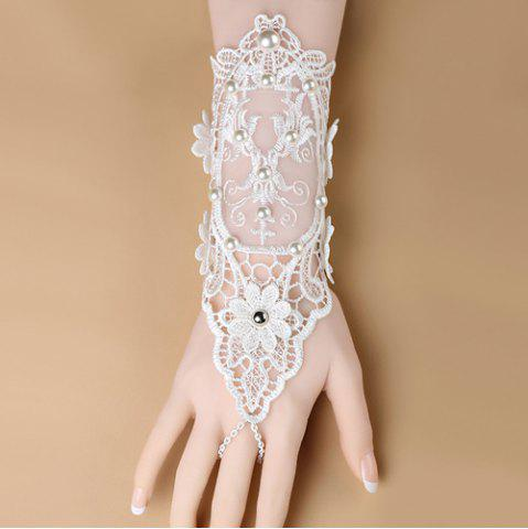 Affordable Faux Pearl Crochet Lace Flower Glove Bracelet