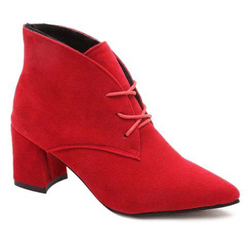 New Tie Up Chunky Heel Pointed Toe Suede Ankle Boots