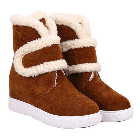Outfits Increased Internal Hook and Loop Plush Fleece Ankle Boots