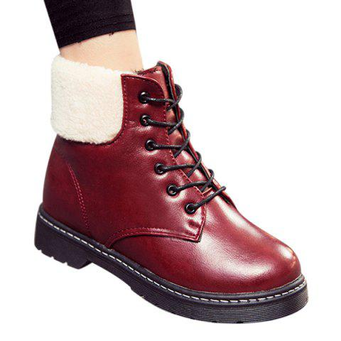 Shop Winter Warm PU Leather Tie Up Ankle Boots