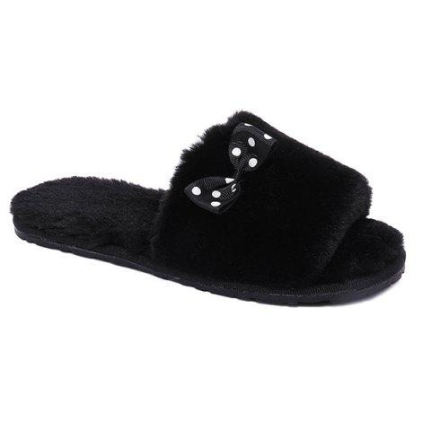 Bow ouvert Toe Furry Fleece Peluche Chaussons