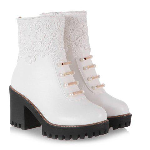 Buy Chunky Heel Beaded Lace Spliced Ankle Boots - 42 WHITE Mobile