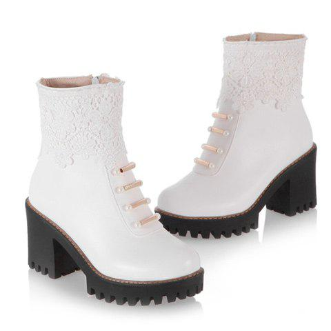 Hot Chunky Heel Beaded Lace Spliced Ankle Boots - 42 WHITE Mobile