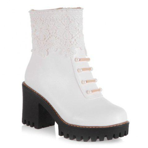 Chunky Heel Beaded Lace Spliced Ankle Boots - White - 40