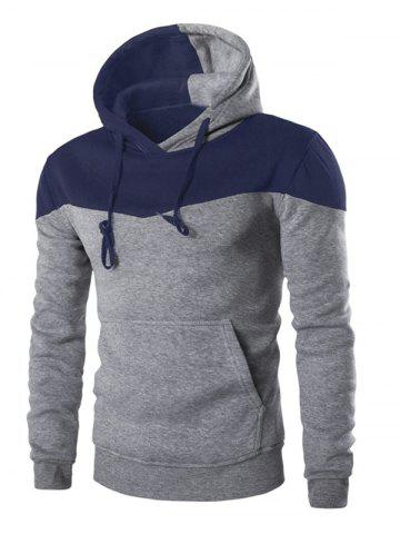 Outfit IZZUMI Classic Color Block Front Pocket Hooded Long Sleeves Hoodie For Men GRAY 2XL